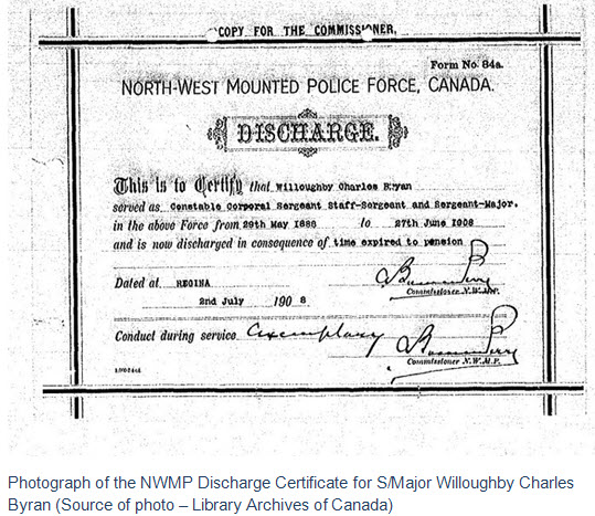 Photograph of the NWMP Discharge Certificate for Sergeant Major Teddy Bryne (Source of photo - Library Archives of Canada).