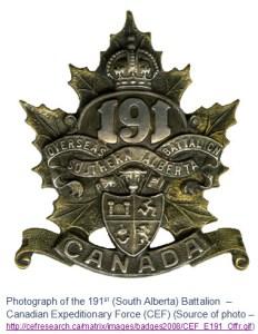 Photograph of the 191st Battalion cap badge