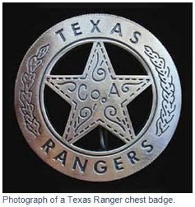 Photograph of a Texas Ranger chest badge.
