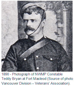1890 - Photograph of NWMP Constable  Teddy Bryan at Fort Macleod (Source of photo Vancouver Division – Veterans' Association).