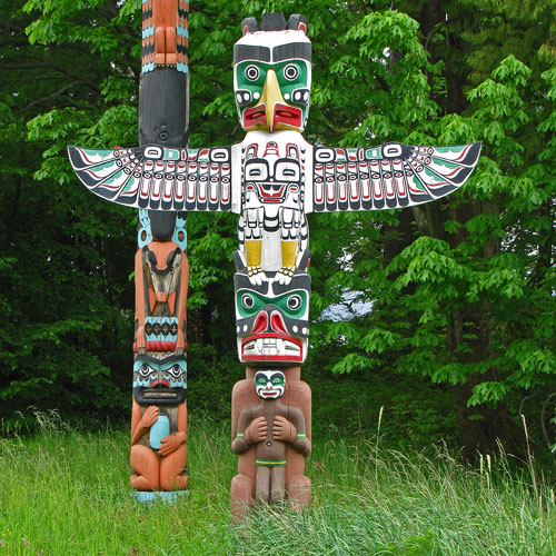 Photograph of First Nation's Totem poles in Stanley Park (Vancouver, B.C.)