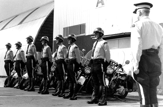 1968 - RCMP motorcycle training course held at the Cloverdale Rodeo grounds (Source of photo - Vancouver Division - RCMP Veterans' Association)