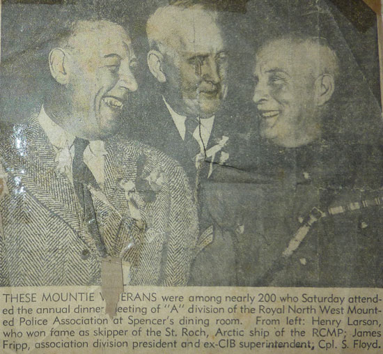 Photograph of RCMP Veterans including Sidney Floyd (Source of photo - Ric Hall's Photo Collection)