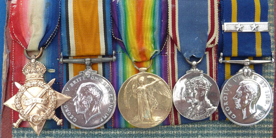 Photograph of Sidney Floyd's First War Medals, Jubilee Medal and RCMP Long Service Medal (Source of photo - Ric Hall's Photo Collection)
