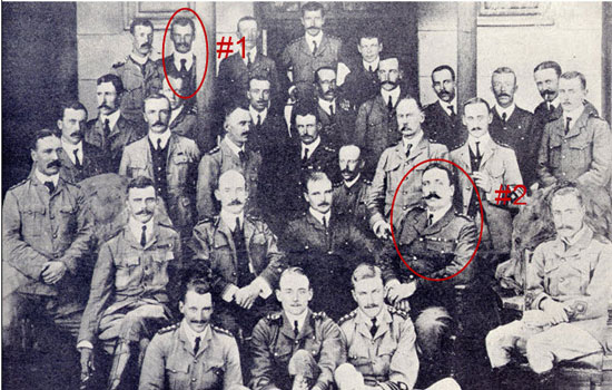 """1903 – Photograph of Officers of """"B"""" (Transvaal) Division, South African Constabulary, Pretoria, South Africa. Taken at home of former President Kruger, headquarters division. Edward Hilliam is denoted by #1 and Sam Steele by #2. (Source of photo – RCMP Veterans' Association – Vancouver Division's Photo Collection)"""