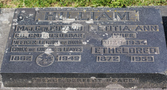 Photograph of the grave marker for Brigadier General Edward Hilliam situated in the Ocean View Cemetery in Burnaby, B.C. (Source of photo - Sheldon Boles)