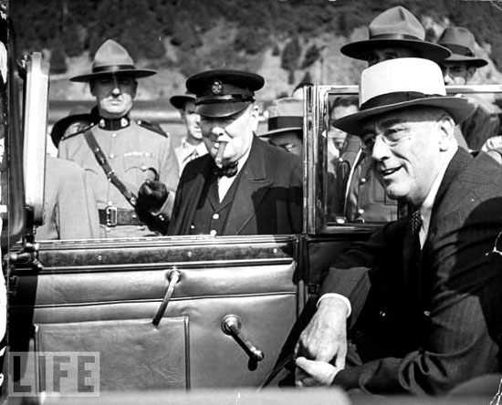 Photograph of Winston Churchill and President Frank D.Roosevelt and RCMP member (Source of photo - Ric Hall's Photo Collection)