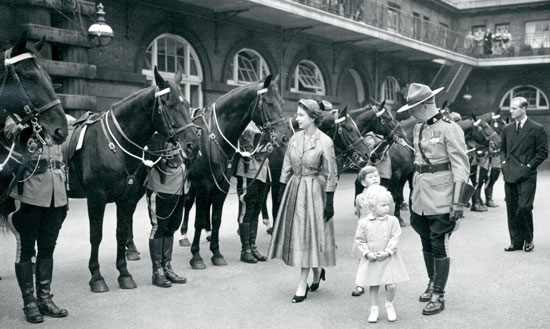 "1953 London England - Queen Elizabeth and Royal Family inspect the members of the RCMP Musical Ride (Source of photo - RCMP Historical Collections Unit - ""Depot"" Division)"