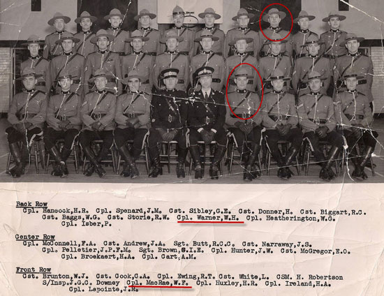 """N"" Division NCO Course.  Photograph includes Bill MacRae later to become C/S/M & Supt. and Corporal Bill Warner (Source of photo - Ric Hall's Photo Collection)"