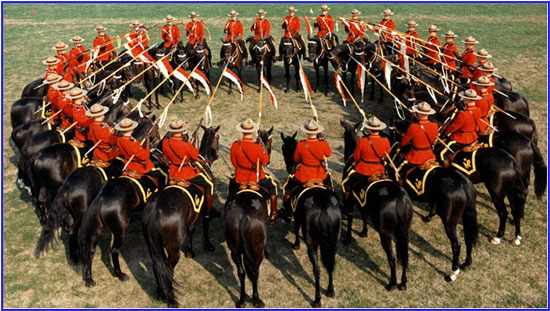 "Photograph of the RCMP Musical Ride members performing the Dome formation (Source of photo - RCMP Historical Collections Unit - ""Depot"" Division)"