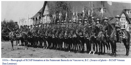 Photograph of the 1930 Fairmount Barrack Musical Ride (Source of photo - Vancouver Division of the RCMP Veterans' Association)