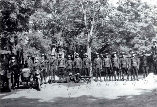 "1919 Photograph of RNWMP members stationed at Brandon Manitoba (Source of photo - RCMP Historical Collections Unit - ""Depot"" Division)"
