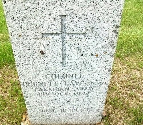 Photograph of Burnett Laws' grave marker (Source of photo - RCMP Gravesite database).
