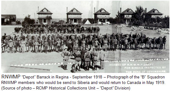 "September 1918 - Photograph of ""B"" Squadron RNWMP at ""Depot"" barrack in Regina (Source of photo - RCMP Historical Collections Unit - ""Depot"" Division)"