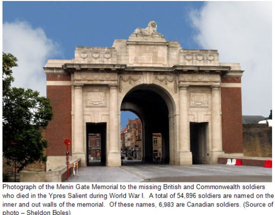 Photograph of the Menin Gate in Ypres (Source of photo - Sheldon Boles)