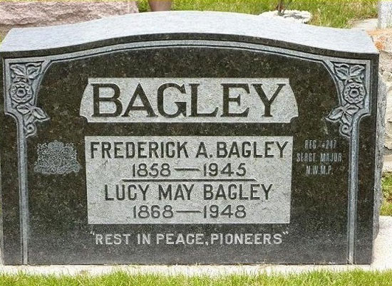 Photograph of Fred Bagley's grave marker in Banff Alberta (Source of photo - RCMP Gravesite database).