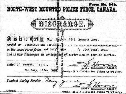Image of the NWMP Discharge Certificate for Corporal Burnett Laws (Library Archives Canada)