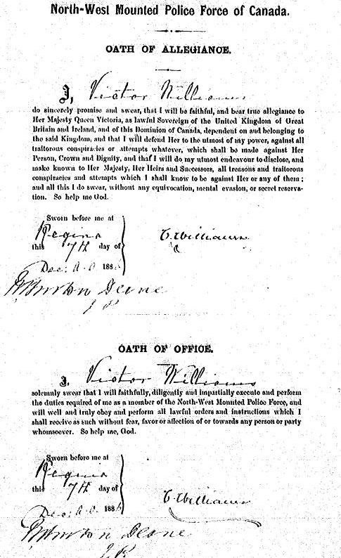 Image of Inspector Victor Williams' engagement document into the North West Mounted Police (Source of image - LIbrary Archives of Canada)