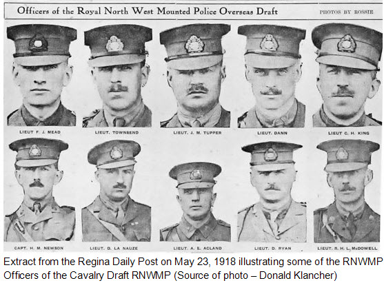 May 1918 - Copy of newspaper photograph of Cavalry Draft RNWMP officers (Source of photo - Donald Klancher).