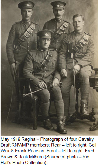 Photograph of four Cavalry Draft RNWMP members in Regina (Source of photo - Ric Hall).