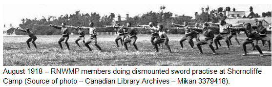 August 1918 - Photograph of RNWMP members practising bayonet training at Shorncliffe Camp (Source of photo - Library Archives Canada).