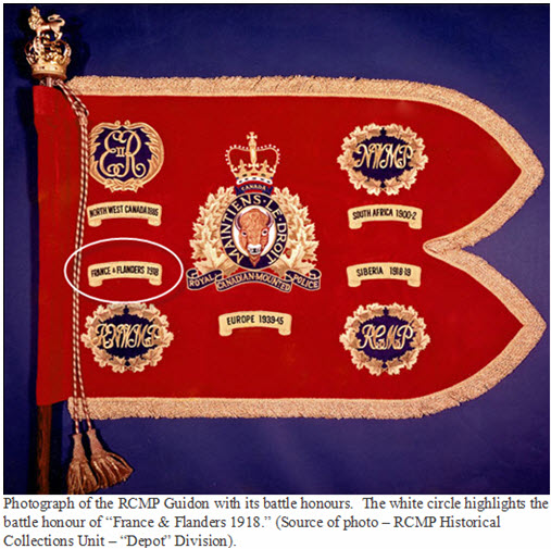 Photograph of the RCMP Guidon with its battle honours with the France and Flanders 1918 highlighted.