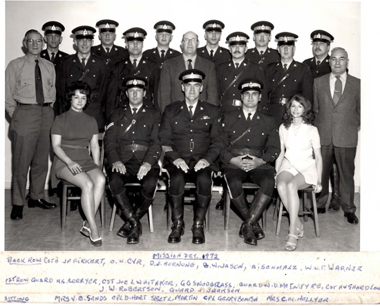 1972 - Photograph of RCMP MIssion Detachment members (Source of photo - Sheldon Boles)