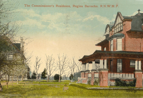 Photoraph of RNWMP headquarters - Commissioner's house is on the right and the Officer's Mess is on the left (Source of photo - Ric Hall's Photo Collection)
