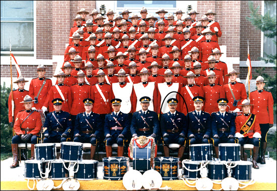 "1971 - Photograph of the ""Depot"" Volunteer Band and Supt. Bill MacRae is identified by a black circle (Source of photo - RCMP Historical Collection - ""Depot"" Division)."