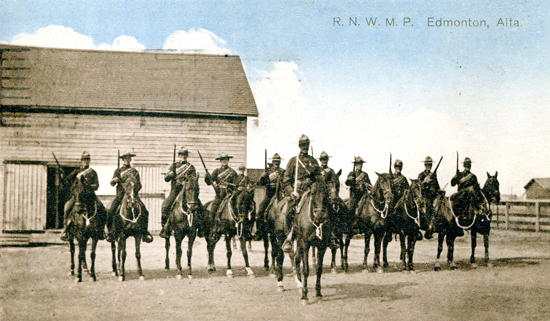 Post card of Royal North West Mounted Police members stationed at Edmonton Alberta (Source of photo - Ric Hall's Photo Collection)