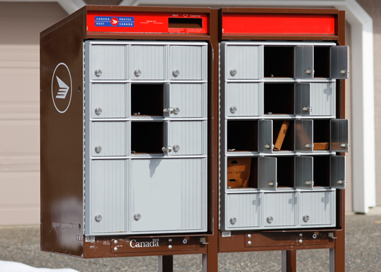 February 25 - Photograph of an insecure Canada Post Super Mail Box near the intersectin of 86 Ave & 162 Street Surrey, BC (Source of photo - Sheldon Boles)