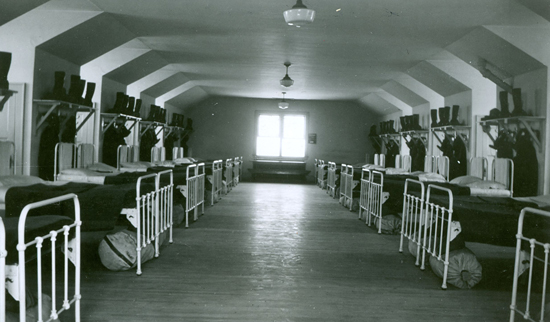 Photograph of the interior of the original 'B' Block dorm at Depot Division in Regina (Source of photo - Ric Hall's Photo Collection).