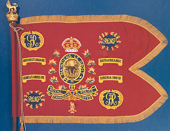 Photograph of the original RCMP Guidon with the Canadian Provost Corps crest (Source of photo - Ric Hall's Photo Collection).