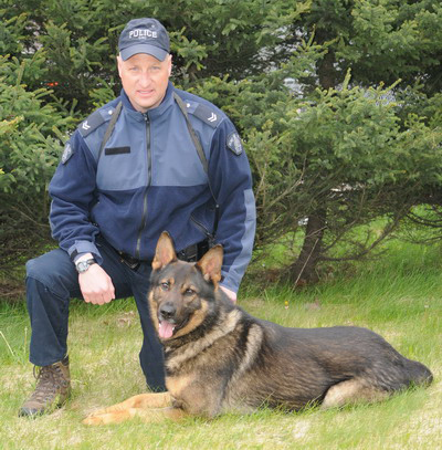 Photograph of a RCMP Police Service Dog and handler (Source of Photo - Royal Canadian Mounted Police).