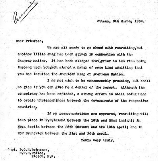 1902 - Personal letter to Superintendent Philip Primrose from NWMP Comptroller Fred White (Source of document (RNWMP Personal File for Philip Primrose).