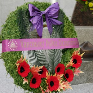 June 10, 2014 - Wreath laid by members of the Vancouver Police Department in honour of the three Moncton RCMP members killed on duty (Source of photo - Sheldon Boles)