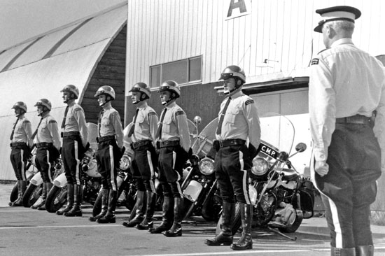 1968 - Photograph of a RCMP Traffic Motorcycle class - taken at the Cloverdale Rodeo grounds in Surrey, BC (Source of photo - Mert Rowden).