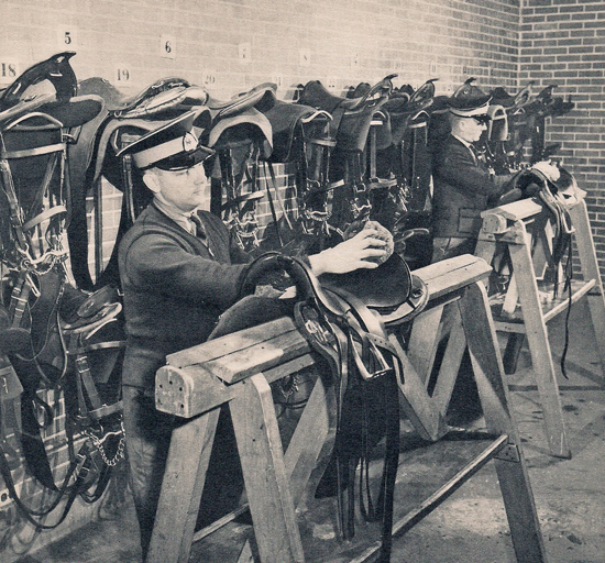 """Photograph of the """"Depot"""" Division's tack room (Source of photo - Ric Hall's Photo Collection)"""