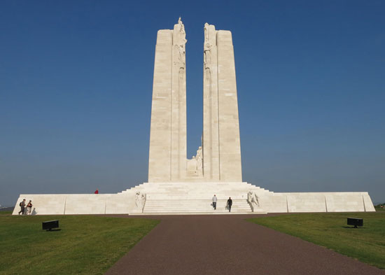Photograph of the Vimy Ridge memorial to Canadians killed in World War I (Source of photo - Sheldon Boles)