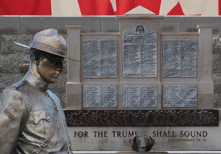 """Photograph of the """"Depot"""" Cenotaph listing all the members died in the line of duty (Source of photo - Sheldon Boles)."""