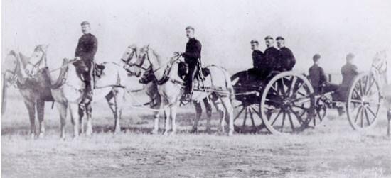 "Photograph of a NWMP Artillery Gun Crew (Source of photo - RCMP Historical Collection - ""Depot"" Division)."