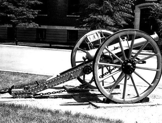 """Photograph of a Force 9-pounder artillery on display at """"Depot"""" Division in Regina (Source of photo - Ric Hall's Photo Collection)."""