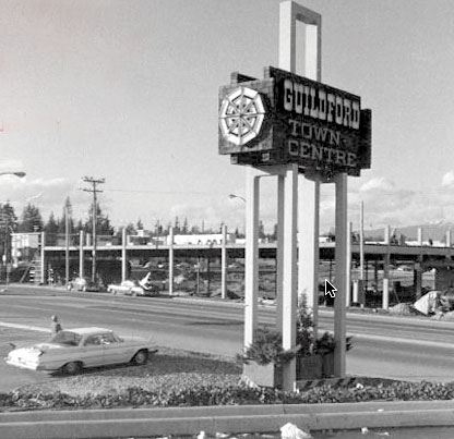 Photograph of the old Guildford Mall sign at the corner of 152 Street and 104 Avenue.