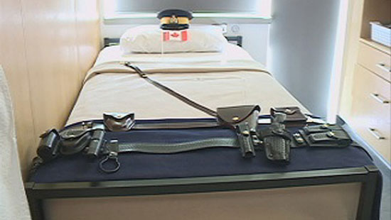 2012 - Photograph of RCMP Cadet's kit laid out for the weekly inspection (Source of photo - Ric Hall's Photo Collection).