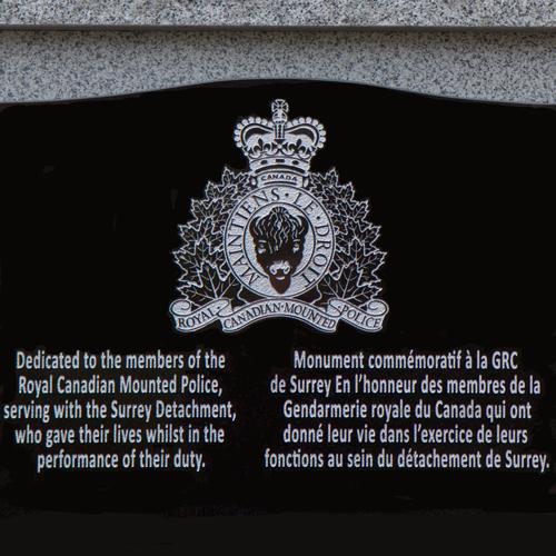 surrey detachment fallen members memorial rcmp veterans photograph of fallen member memorial at surrey detachment