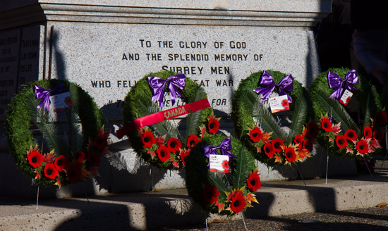 Photograph of wreaths at the Cloverdale Remembrance Day Service (source of photo - Sheldon Boles).