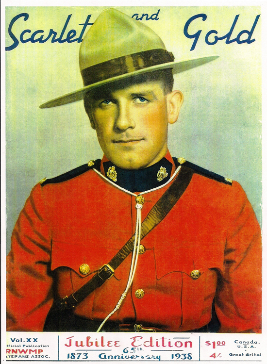 Photograph of the 1938 cover of the RCMP Veterans' Association's Scarlet & Gold magazine (Source of photo - Ric Hall's Photo Collection).