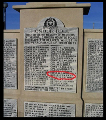 "Photograph of the RCMP Cenotaph at ""Depot"" Division.  Sergeant Arthur Barker's name is circled in red in this photograph (Source of photo - Ric Hall's Photo Corner)."
