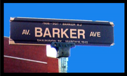 "Photograph of the ""Depot"" Division's street sign named in the honour of Sergeant Arthur Barker (Source of photo - Ric Hall's Photo Collection)."