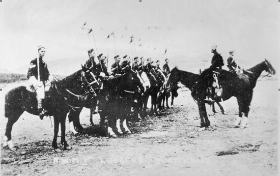 "1878 Fort Walsh - Photograph of NWMP lancers (Source of photo - RCMP Historical Collections Unit - ""Depot"" Division)."